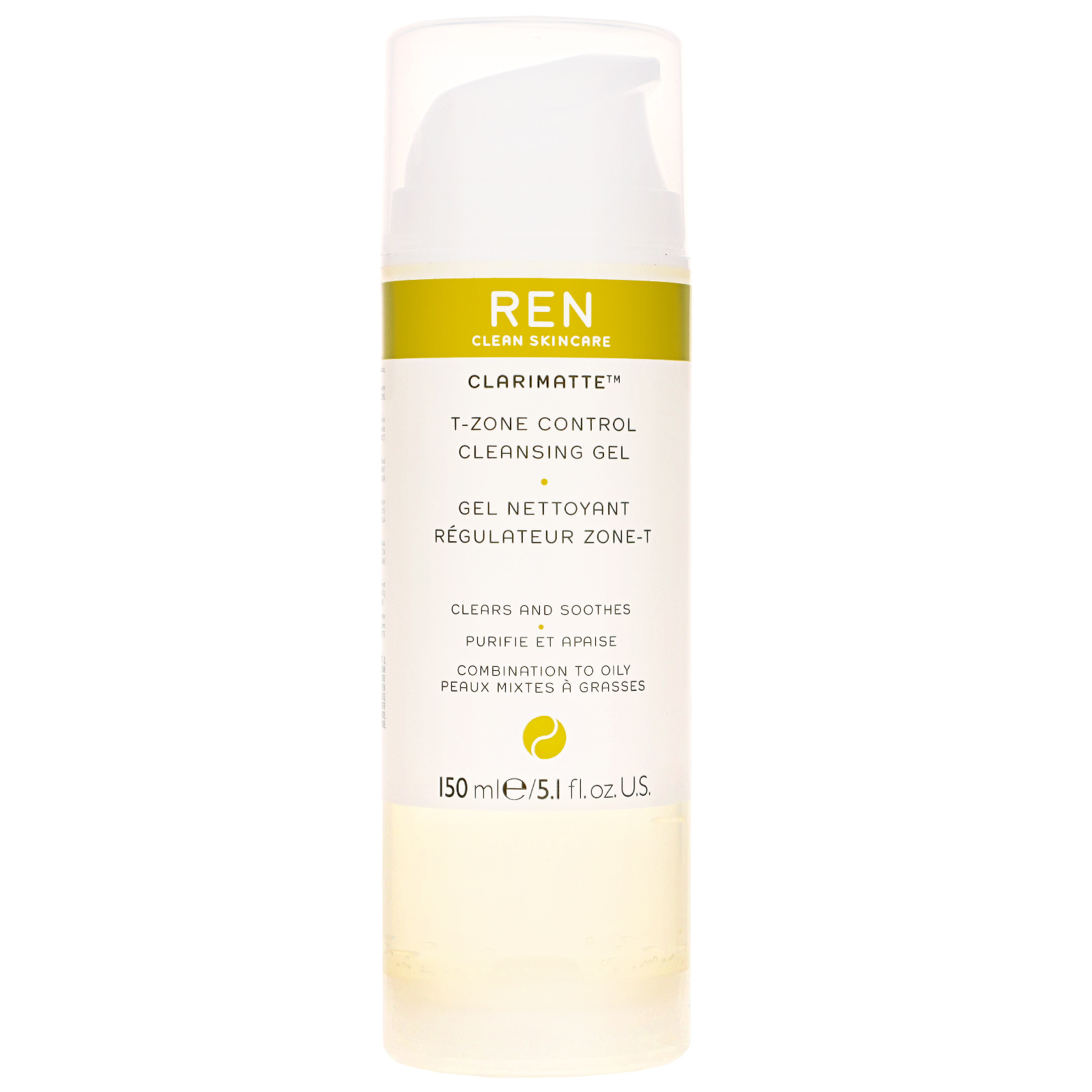 REN Clean Skincare Face Clarimatte T-Zone Control Cleansing Gel 150ml / 5.1 fl.oz.