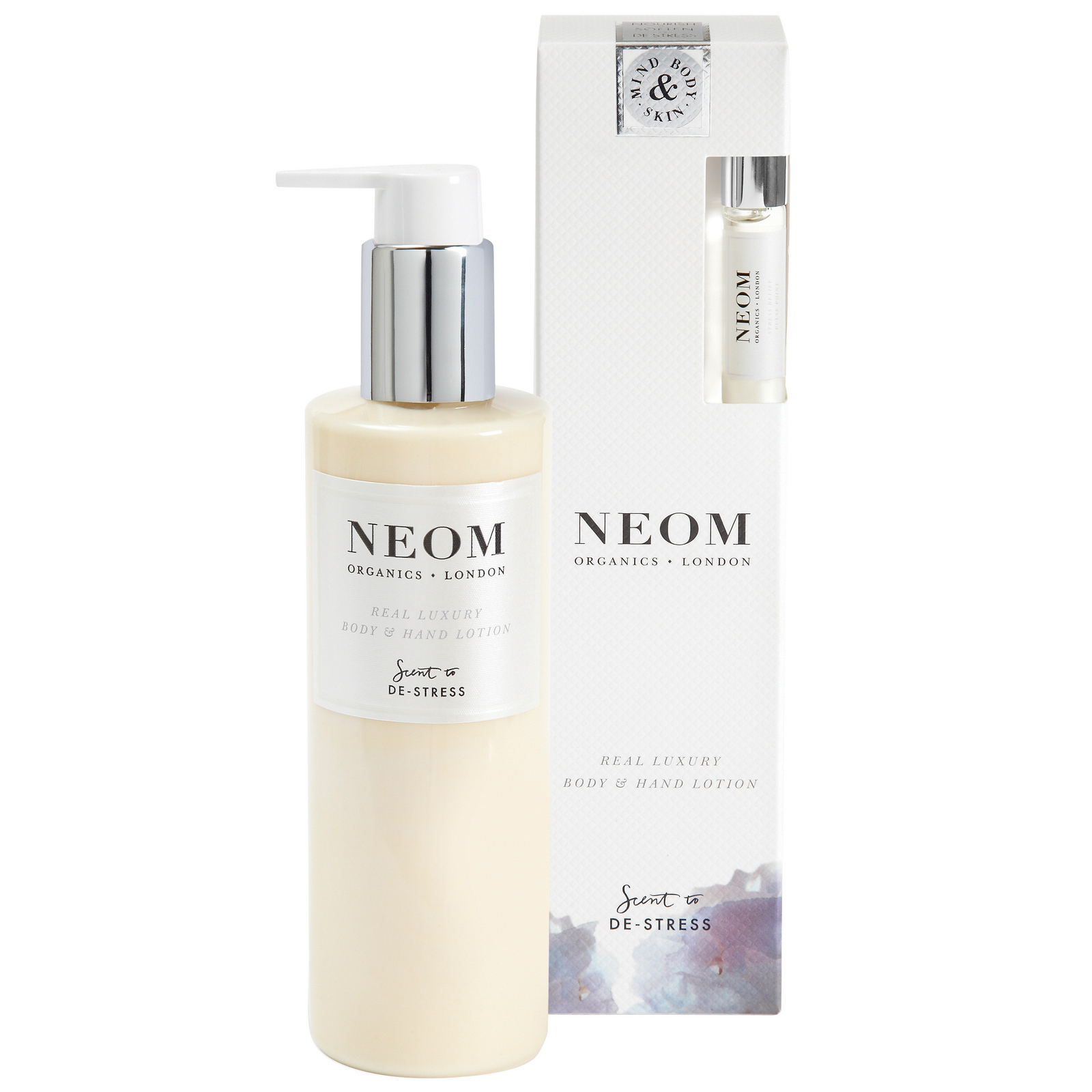 Neom Organics London Scent To De-Stress Real Luxury Body & Hand Lotion 250ml + Free Stress Relief Pulse Point 5ml