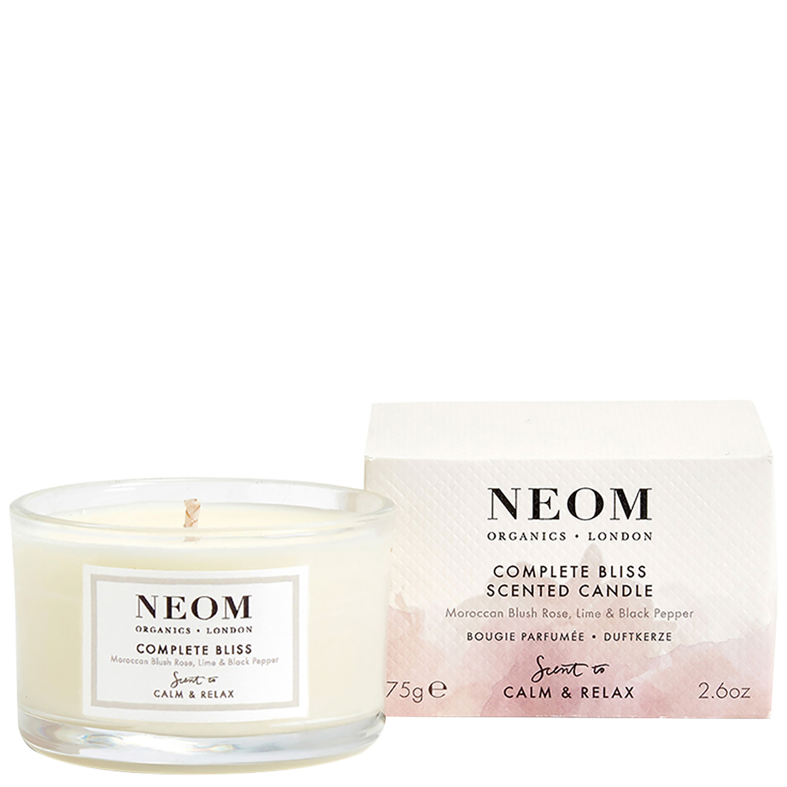 Neom Organics London Scent To Calm & Relax Complete Bliss Scented Candle (Travel) 75g