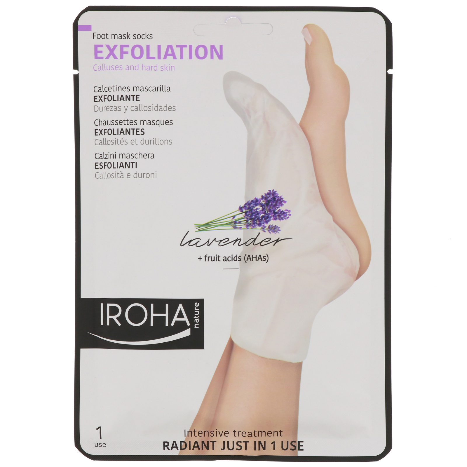 Iroha Nature Exfoliation Lavender Sock Progressive Exfoliation Foot Socks