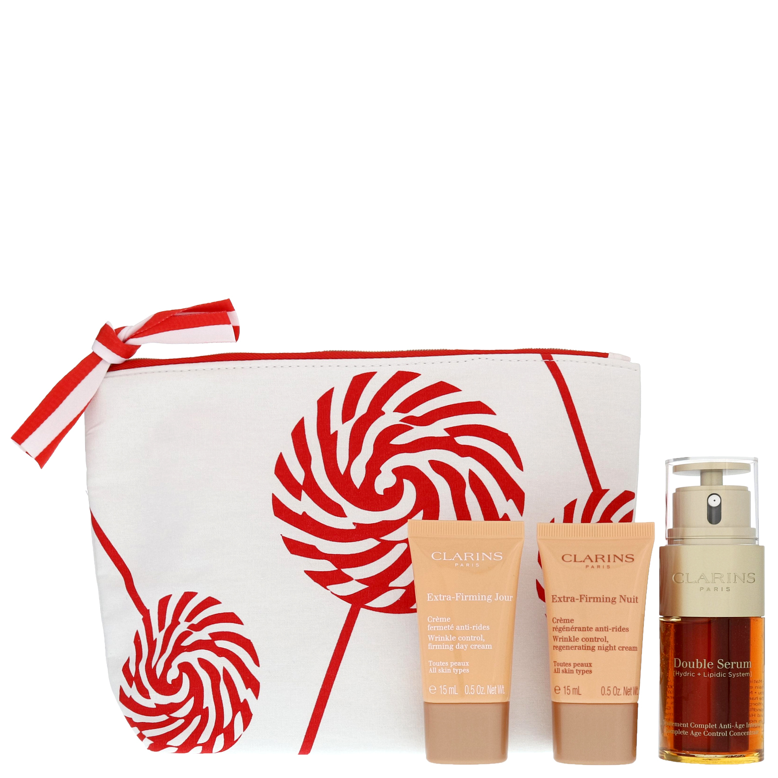 clarins gifts sets double serum 30ml extra firming day cream 15ml extra firming night cream. Black Bedroom Furniture Sets. Home Design Ideas