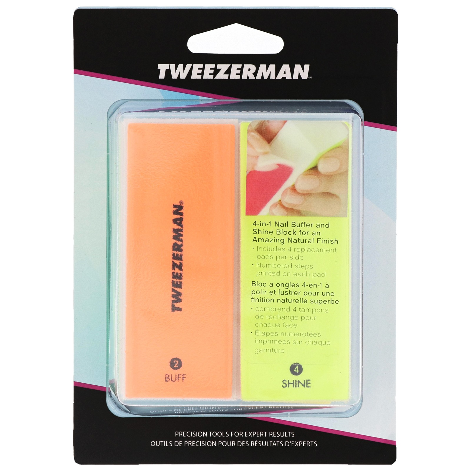 Tweezerman Manicure & Pedicure Neon Hot File, Buff, Smooth and Shine Block