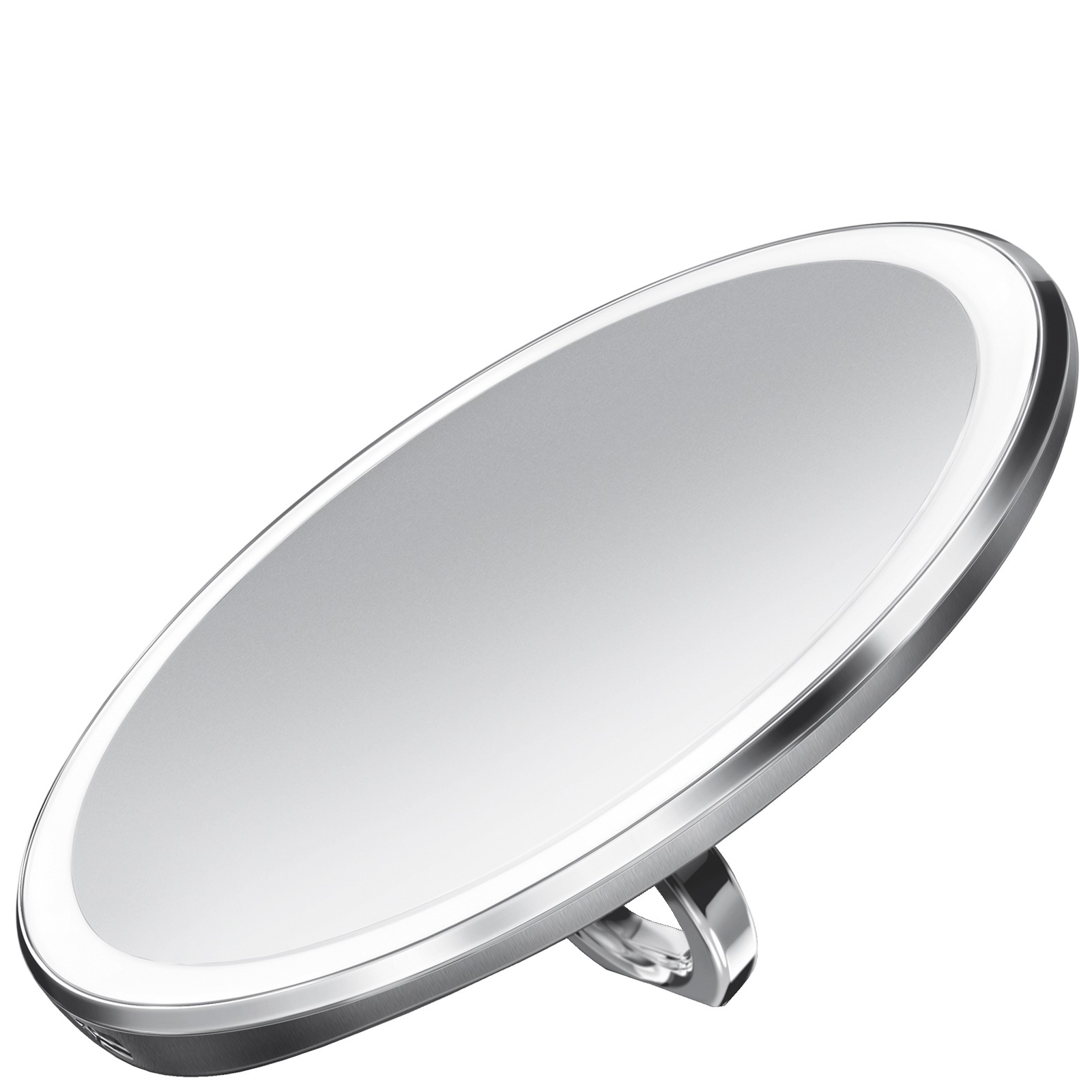 simplehuman Sensor Mirrors 3 x Magnification 10cm Sensor Mirror Compact: Round, Brushed Stainless Steel, Rechargeable with Pouch