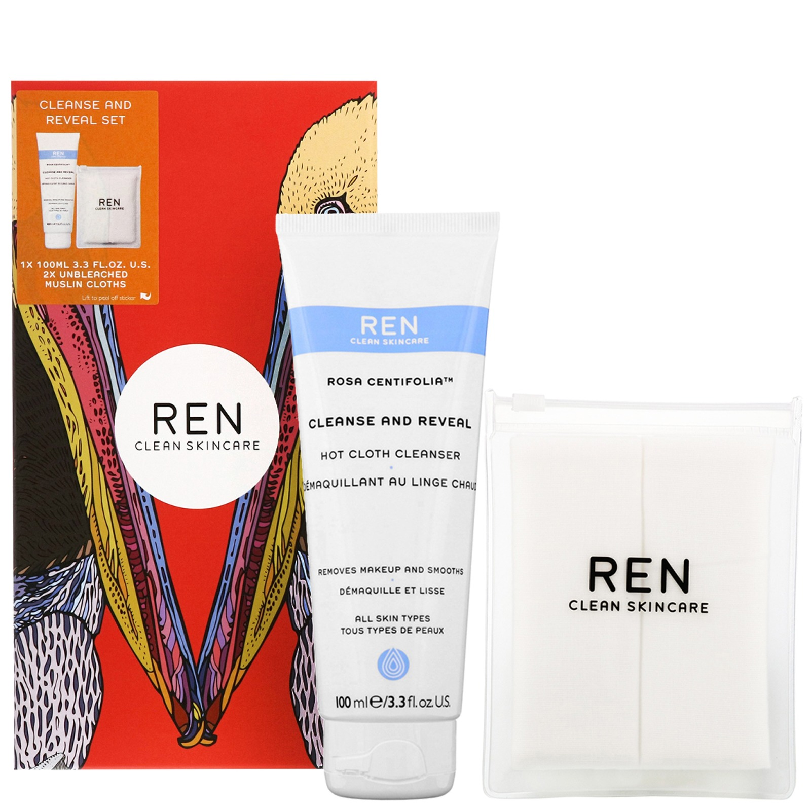REN Clean Skincare Gifts Rosa Centifolia Cleanse and Reveal Hot Cloth Cleanser
