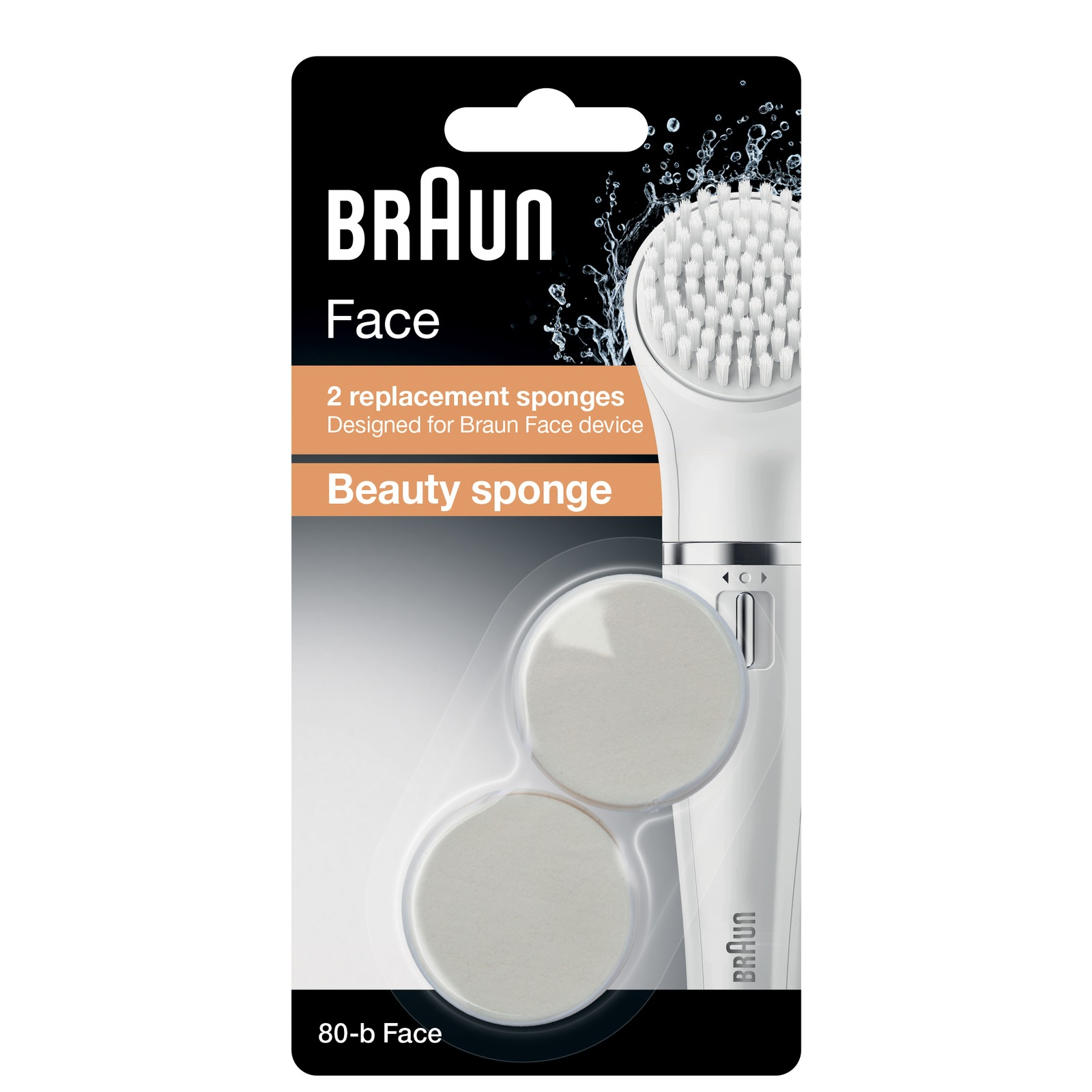 Braun Replacement Heads 80-b Beauty Sponge Replacement x 2