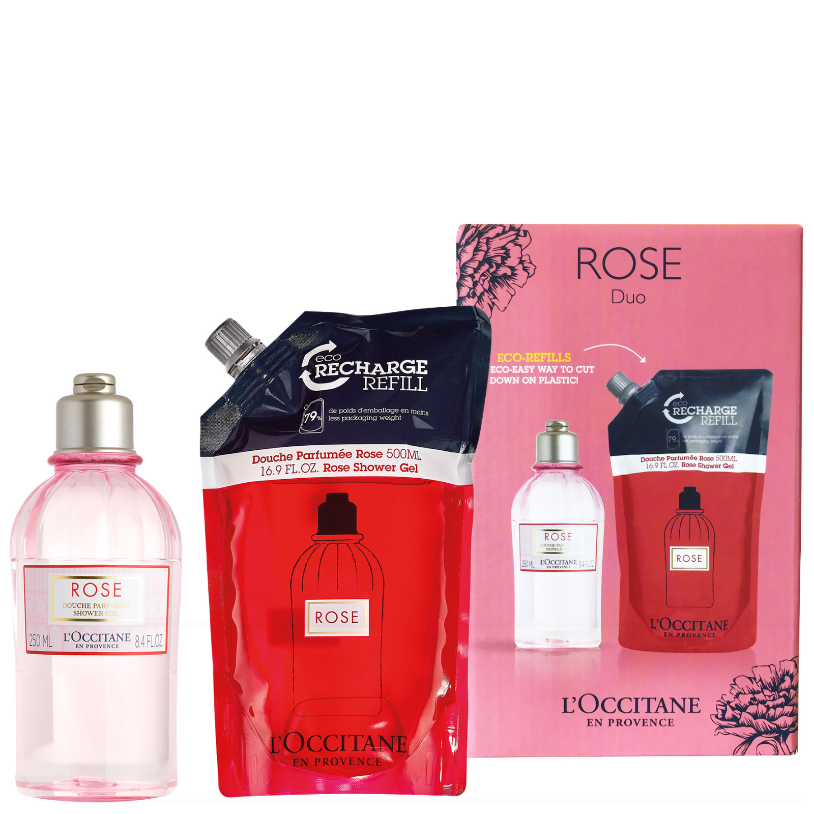 L'Occitane Rose Shower Gel and Refill Duo