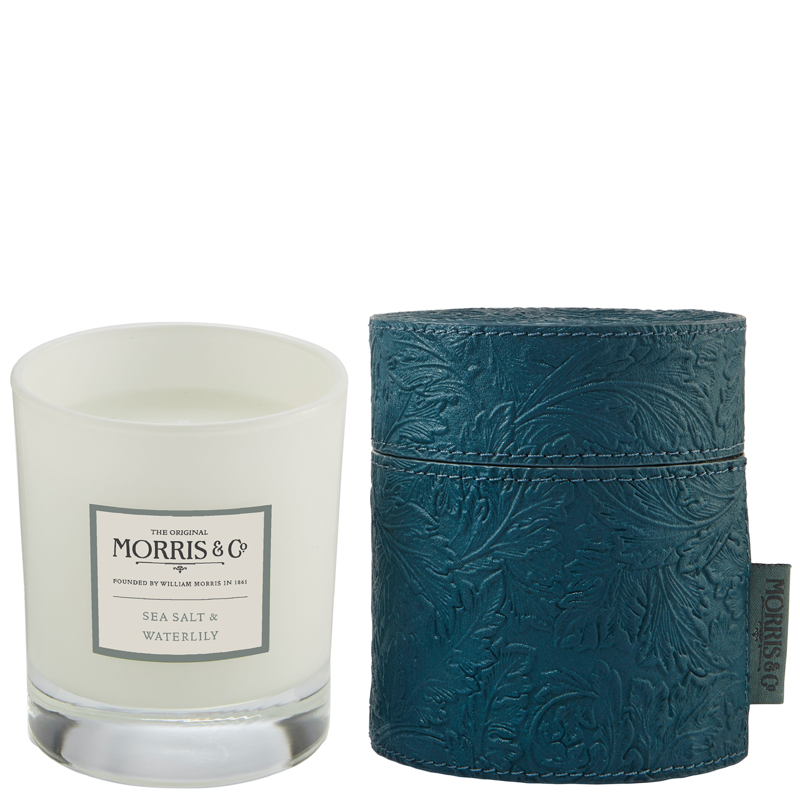 MORRIS & Co Sea Salt & Waterlily Scented Candle in Fabric Drum 180g