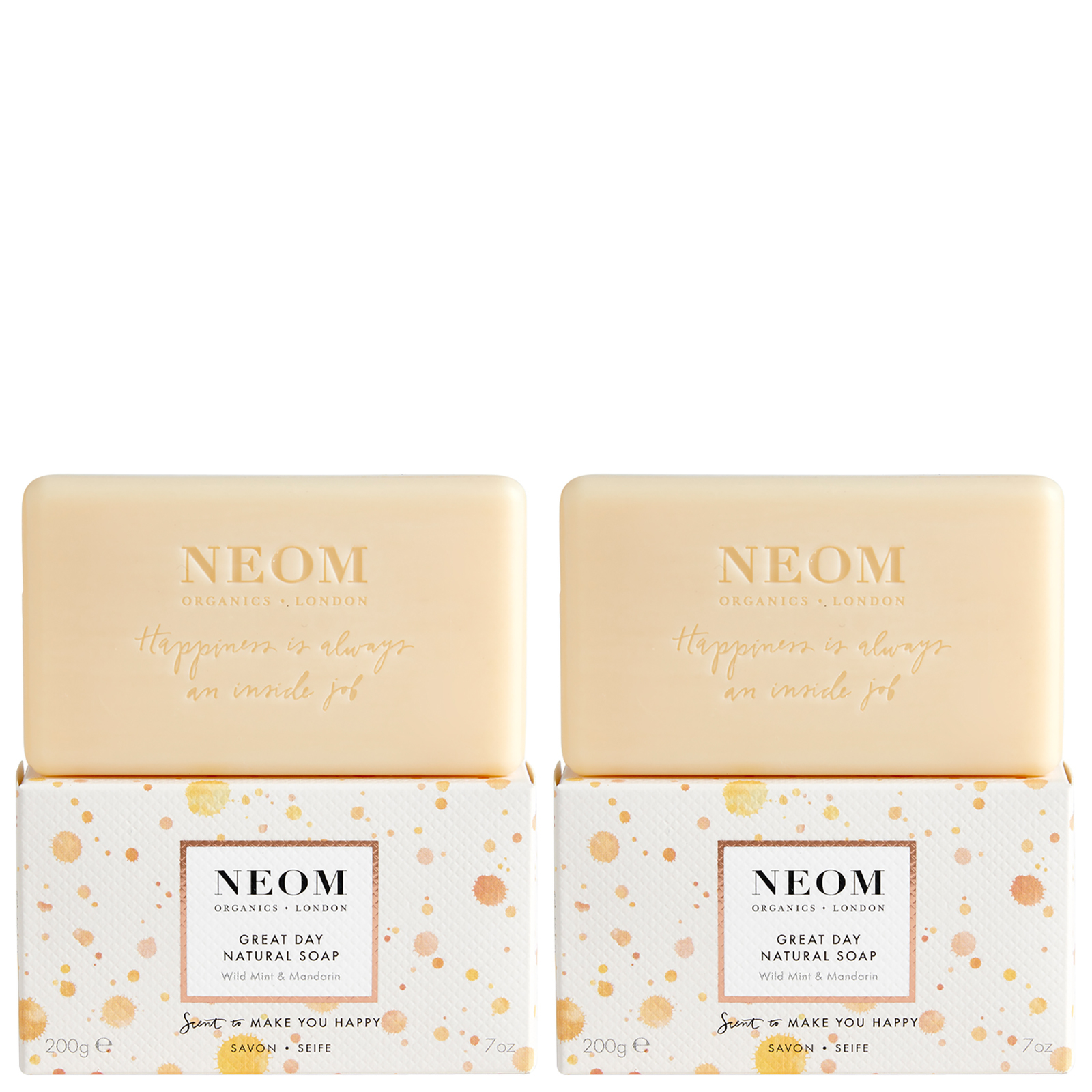 Neom Organics London Scent To Make You Happy Great Day Natural Soap 2 x 200g