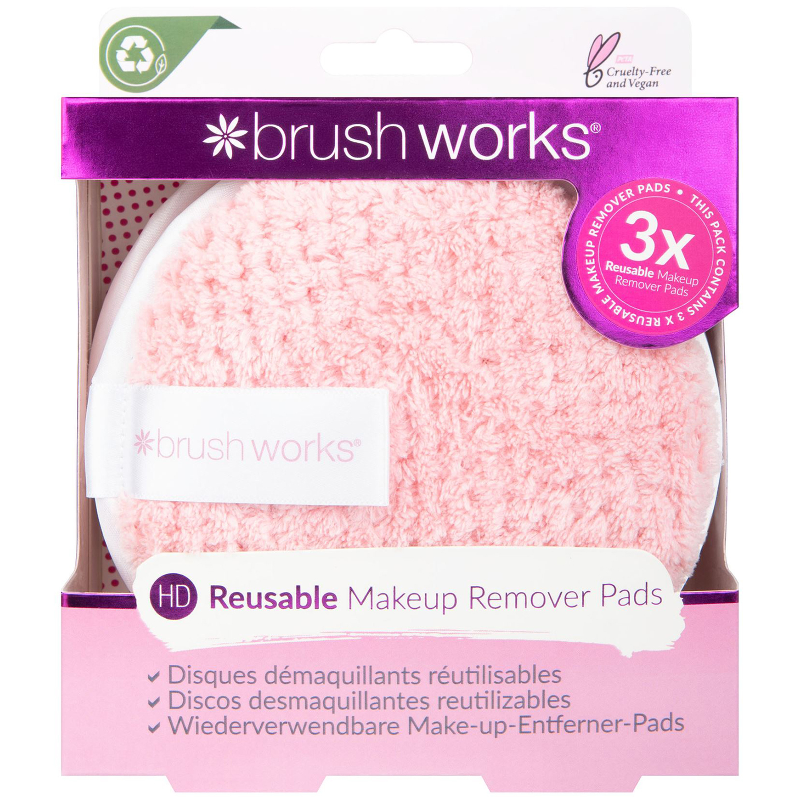 Brushworks Cleansing HD Reusable Makeup Remover Pads (Pack of 3)