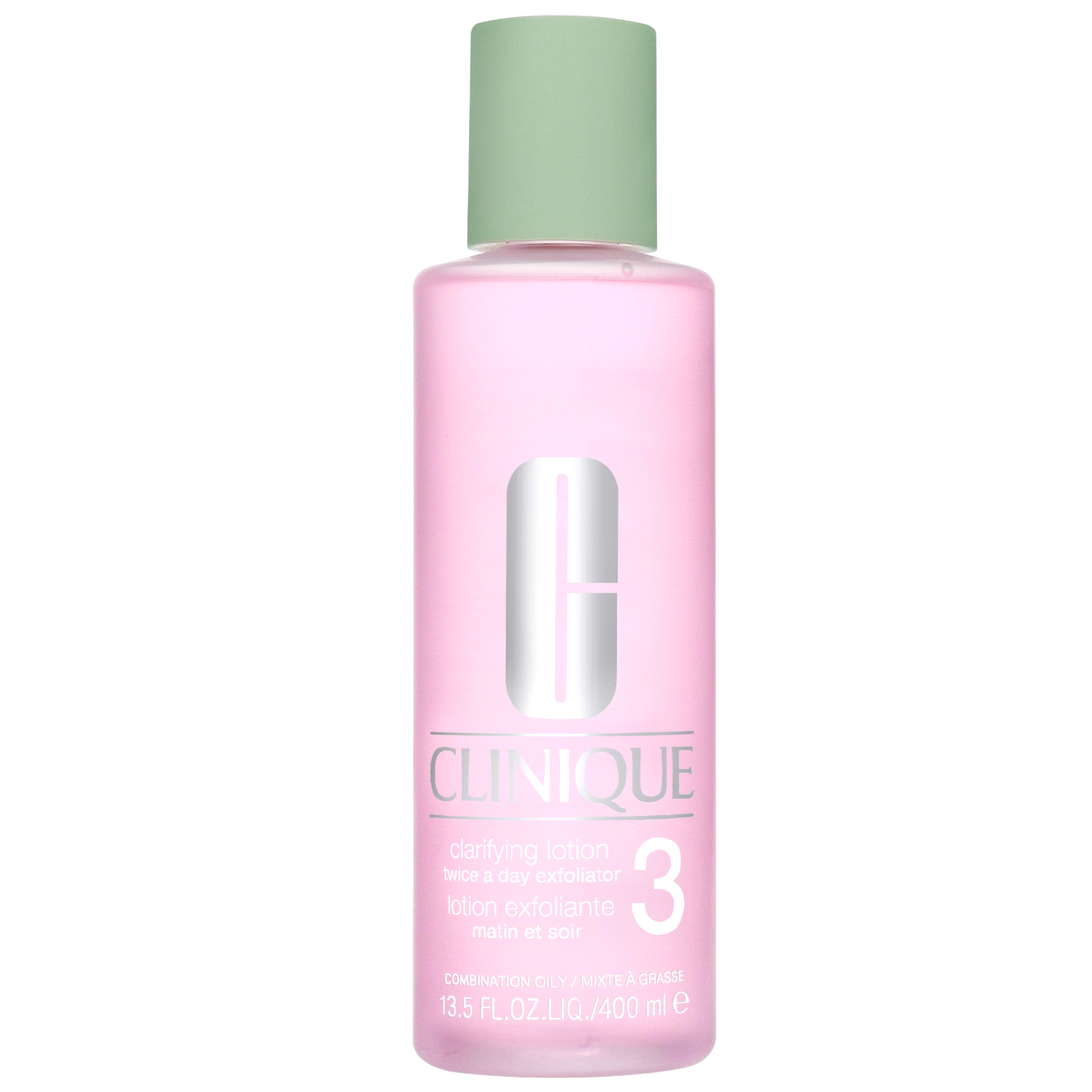 Clinique Cleansers & Makeup Removers Clarifying Lotion Twice A Day Exfoliator 3 for Combination and Oily Skin 400ml / 13.5 fl.oz.