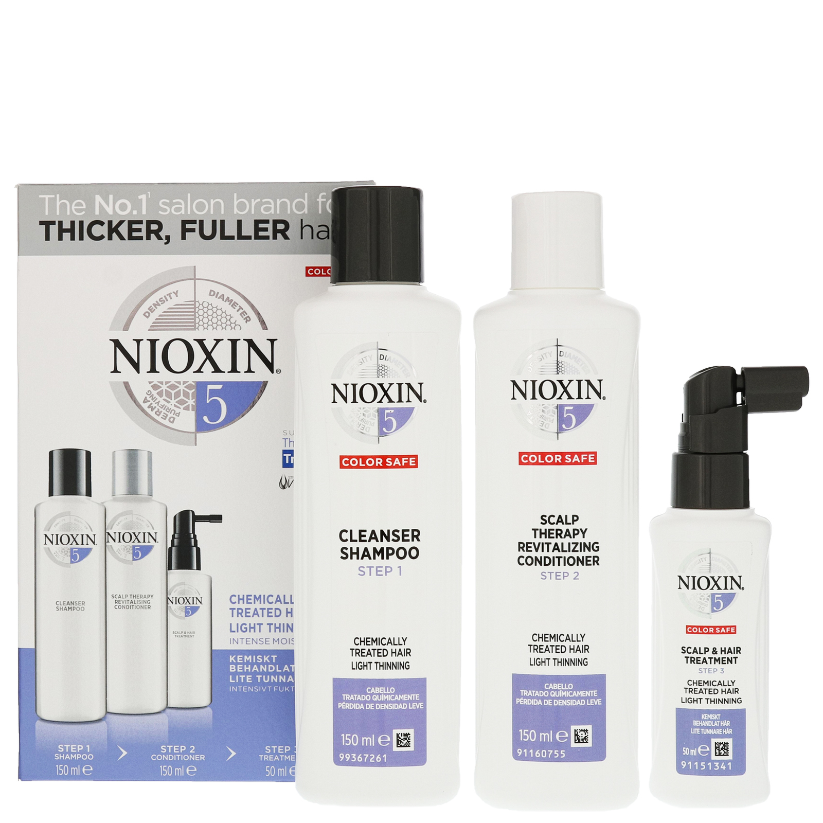Nioxin 3D Care System  System 5, 3 Part System Kit For Chemically Treated Hair And Light Thinning