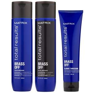 Matrix Total Results Brass Off Trio Set: Shampoo 300ml, Conditioner 300ml & Threesome Smoothing Cream 150ml