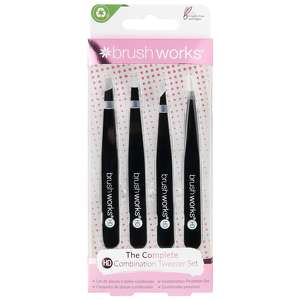 Brushworks Tweezers  HD Combination Tweezer Set - Black