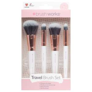 Brushworks Accessories White & Gold Travel Makeup Brush Set